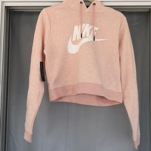 Nike Light Pink Cropped Work Out Hoodie